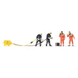 Preiser 10625 HO 1/87 Pompiers et Infirmiers - Firemen with Shears & Paramedics