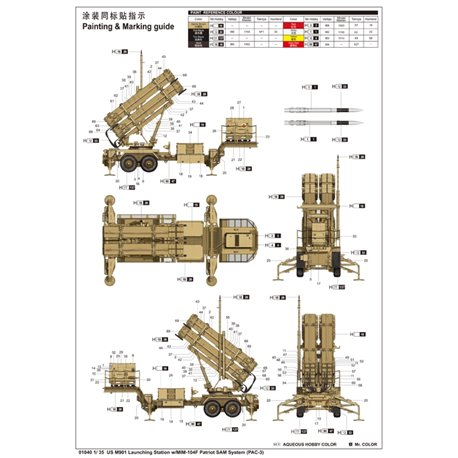 Trumpeter 01040 1/35 US M901 Launching Station w/MIM-104F Patriot SAM System