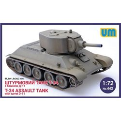 UNIMODELS 442 1/72 T-34 Assault tank with turred D-11
