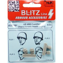 CMK B35081 1/35 US WWII soldiers character heads 4 pcs