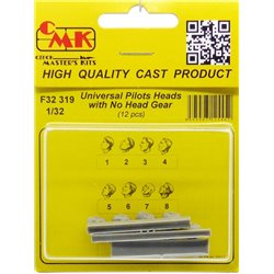 CMK F32319 1/32 Universal Pilot Heads – with no head gear (12 pcs)