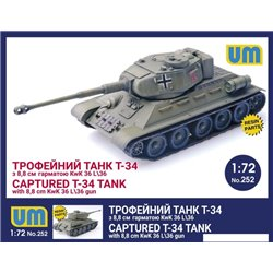 UNIMODELS 252 1/72 Captured T-34 Tank With 8,8cm KwK 36L\36 Gun