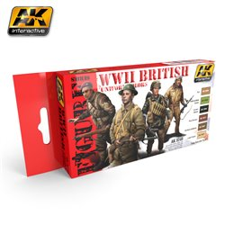 AK Interactive AK3240 WWII BRITISH UNIFORM COLORS 6x17ml