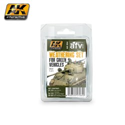 AK Interactive AK064 GREEN VEHICLES WEATHERING SET 3x35ml