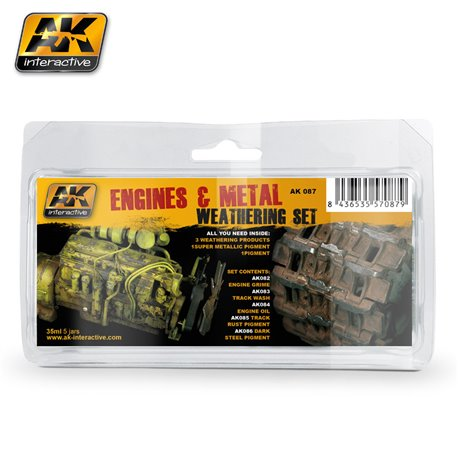 AK Interactive AK087 ENGINES AND METAL WEATHERING SET 5x35ml