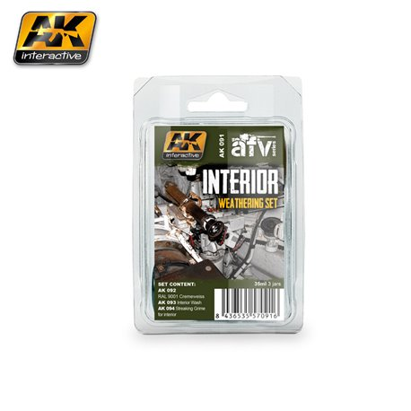 AK Interactive AK091 INTERIOR WEATHERING SET 3x35ml