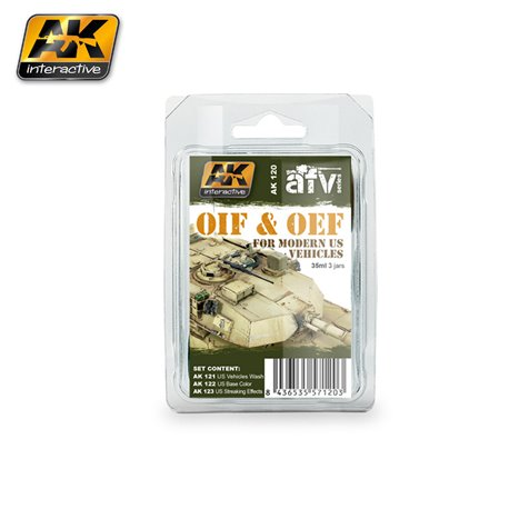 AK Interactive AK120 OIF & OEF - US VEHICLES WEATHERING SET 3x35ml