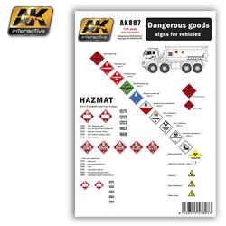 AK Interactive AK807 DANGEROUS GOODS signs for vehicles Wet Transfer