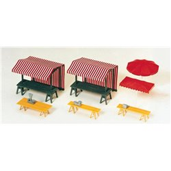 Preiser 17500 HO 1/87 Market stalls, market sunshades