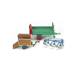 Preiser 17918 HO 1/87 Bétaillère Charrue - Dung spreader Trailer for pig transportation