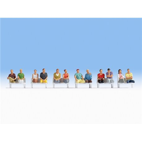 NOCH 15250 HO 1/87 Passagers Assis-Sitting Passengers for wagons 12pcs