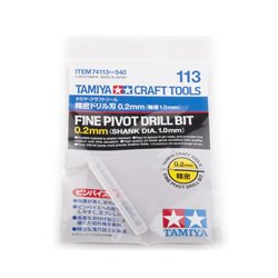 Tamiya 74113 Fin Foret 0.2mm Mandrin 1mm - Fine Pivot Drill Bit 0.2mm