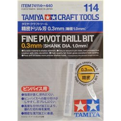 Tamiya 74114 Fin Foret 0.3mm Mandrin 1mm - Fine Pivot Drill Bit 0.3mm