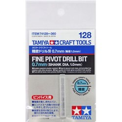 Tamiya 74128 Fin Foret 0.7mm Mandrin 1mm - Fine Pivot Drill Bit 0.7mm