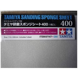 Tamiya 87147 Sanding Sponge Sheet 400 1 x 140mmx114mm sheet.