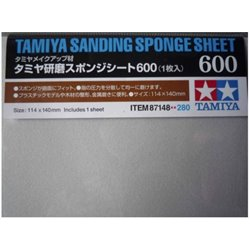 Tamiya 87148 Sanding Sponge Sheet 600 1 x 140mmx114mm sheet.