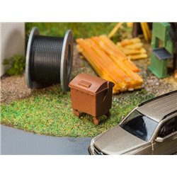 Faller 180960 HO 1/87 2 Brown dustbins