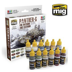 AMMO OF MIG A.MIG-7174 Panther-G Colors Set For Interior 12x17ml