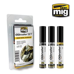 AMMO OF MIG A.MIG-7507 Oilbrusher Set Bright Metal Colors