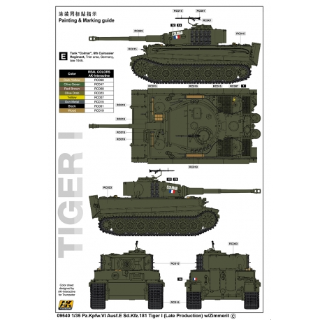 Trumpeter 09540 1/35 Pz.Kpfw.VI Ausf.E Sd.Kfz.181 Tiger I (Late Production) w/Zimmerit