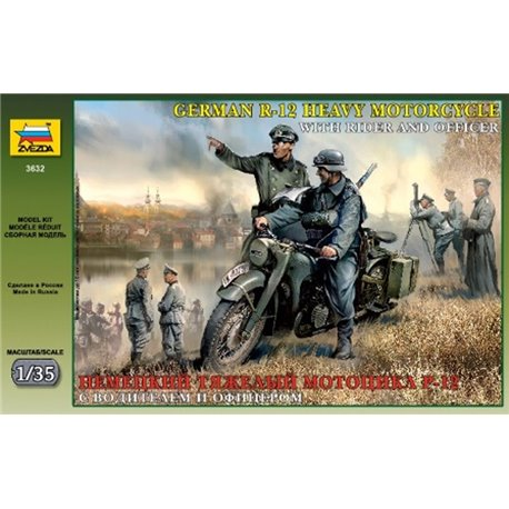 ZVEZDA 3632 1/35 German R-12 Heavy Motorcycle with rider and officer