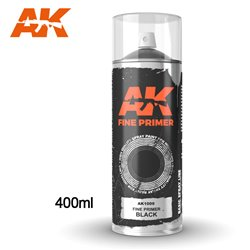 AK INTERACTIVE AK1009 Fine Primer Black - Spray 400ml (Includes 2 Nozzles)