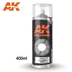 AK INTERACTIVE AK1010 Fine Primer Grey - Spray 400ml (Includes 2 Nozzles)