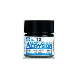 GUNZE Mr Hobby Acrysion Color N012 FLATBLACK 10ml