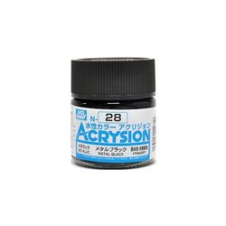 GUNZE Mr Hobby Acrysion Color N028 METALBLACK 10ml