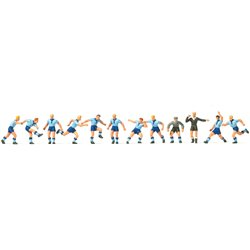 Preiser 10756 Equipe De Football Bleu Clair Bleu Foncé Et Arbitre
