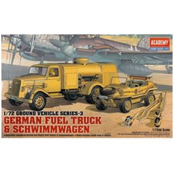 Academy 13401 1/72 German Fuel Truck & Schwimmwagen WWII Ground Vehicle Set-3