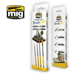 Ammo by Mig Jimenez A.MIG-7601 Pinceaux Dioramas - Diorama Scenic Brush Set