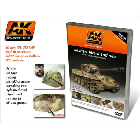 AK Interactive AK000 DVD Enamel Weathering Techniques: Washes, fading and oils