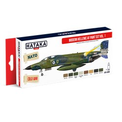 HATAKA HTK-AS68 Aviation Paint Set Modern Hellenic AF paint set vol. 1 8x17ml