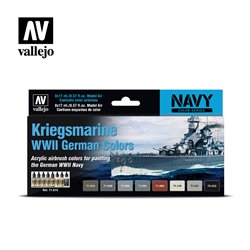 VALLEJO 71.615 Model Air Set Kriegsmarine WWII German Colors 8x17ml