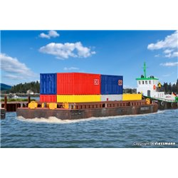KIBRI 38524 HO 1/87 Barge Pour Container - Lighter for bulk goods or container