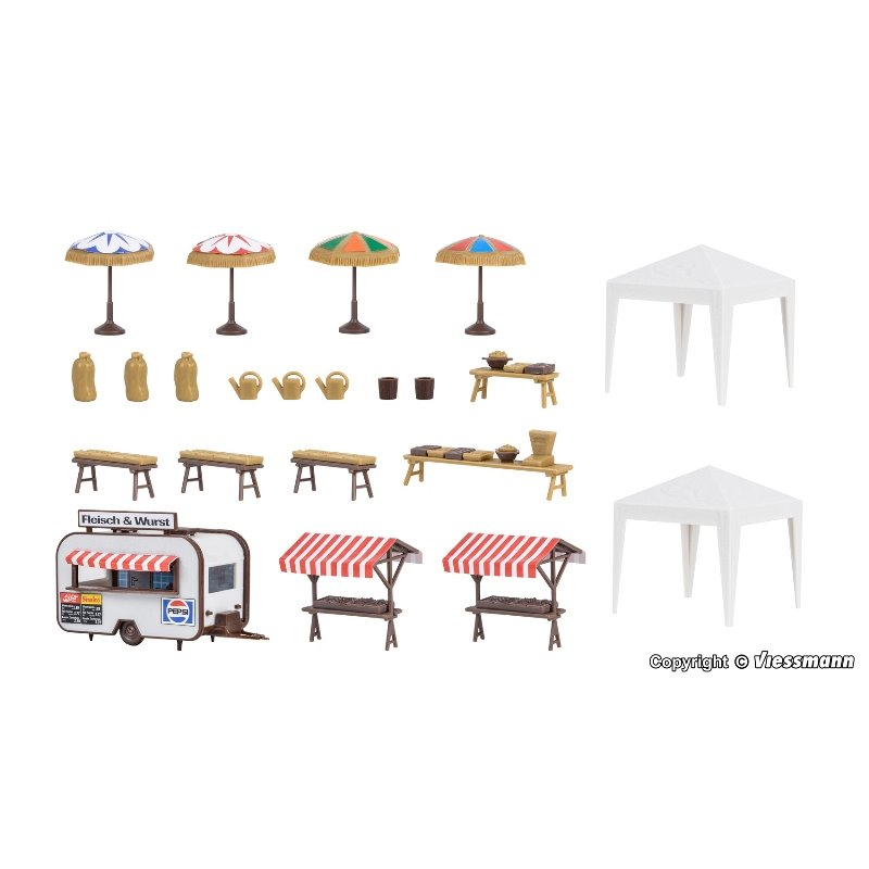 Kit HO Scale Accessories Deco-set Weekly market 45141