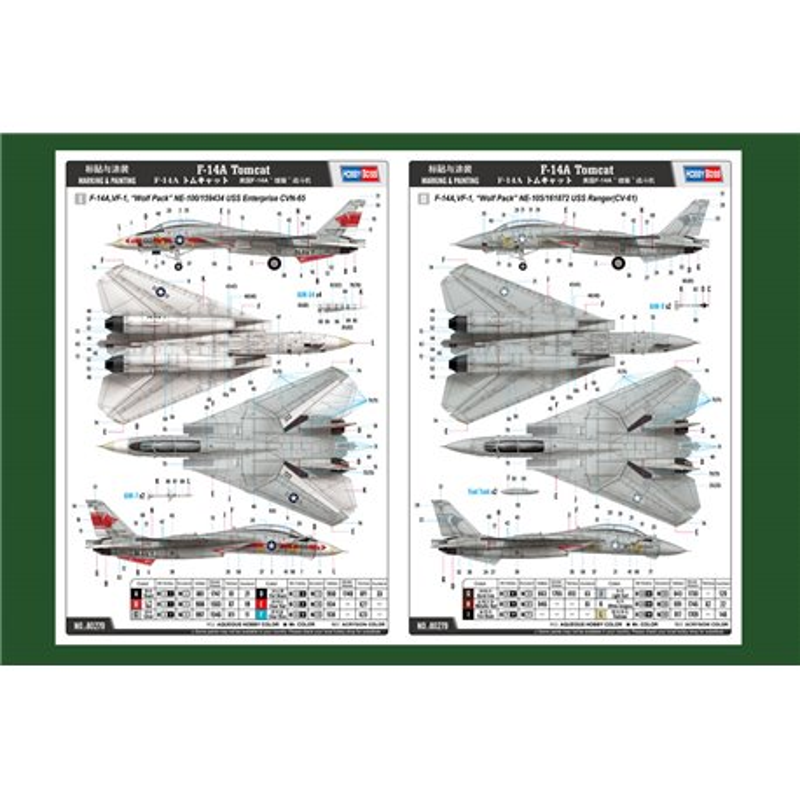 "HOBBY BOSS 80279 1/72 F-14A Tomcat VF-1, ""Wolf Pack"""