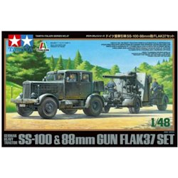 TAMIYA 37027 1/48 GERMAN HEAVY TRACTOR SS-100 & 88mm GUN FLAK37 SET