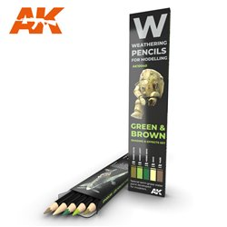 AK INTERACTIVE AK10040 WATERCOLOR PENCIL SET GREEN AND BROWN CAMOUFLAGES