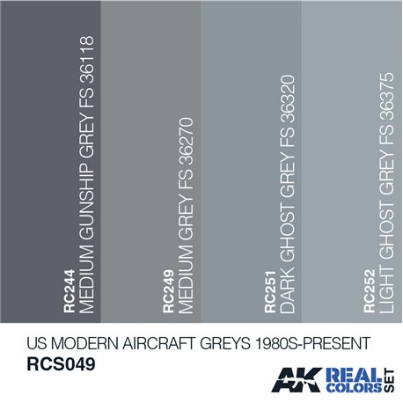 AK Interactive RCS049 US MODERN AIRCRAFT GREYS 1980S-PRESENT