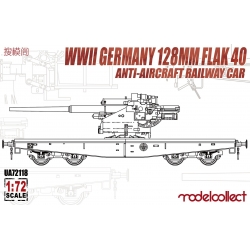Modelcollect UA72118 1/72 WWII Germany 128mm Flak 40 Anti-Aircraft Railway Car