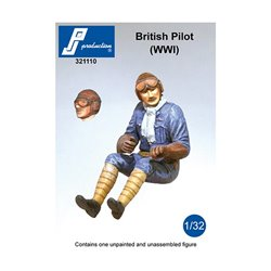 PJ Production 321110 1/32 British Pilot seated in a/c (WW1)