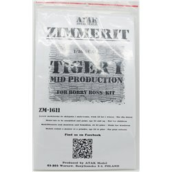 ATAK Model ZM-1611 1/16 Zimmerit Tiger I Mid Prod For Hobby Boss Kit