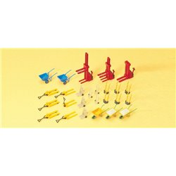 PREISER 17107 HO 1/87 Charriot Palettes - fork lifts wheel barrows 25pc
