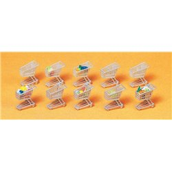 PREISER 17224 HO 1/87 Caddy - shopping carts with goods 10pcs