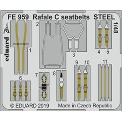 EDUARD FE959 Photo Etched 1/48 Rafale C seatbelts STEEL For Revell