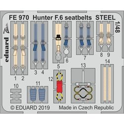 EDUARD FE970 Photo Etched 1/48 Hunter F.6 seatbelts STEEL For Airfix