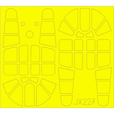 EDUARD JX227 1/32 Masking Tape Curtiss P-40F T Face Warhawk For Trumpeter