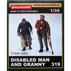 PLUSMODEL 319 1/35 Disabled Man and Granny